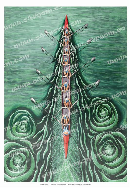 Eight Oars: like an eight in a head race viewed from a bridge. This one has green water but we have one with blue... o4rsom rowing art