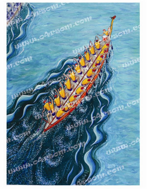 Traditional Dragonboat: like 'Racing' , but slightly altered stern. Still 20 paddlers sweep & drummer. o4rsom dragon boat art.