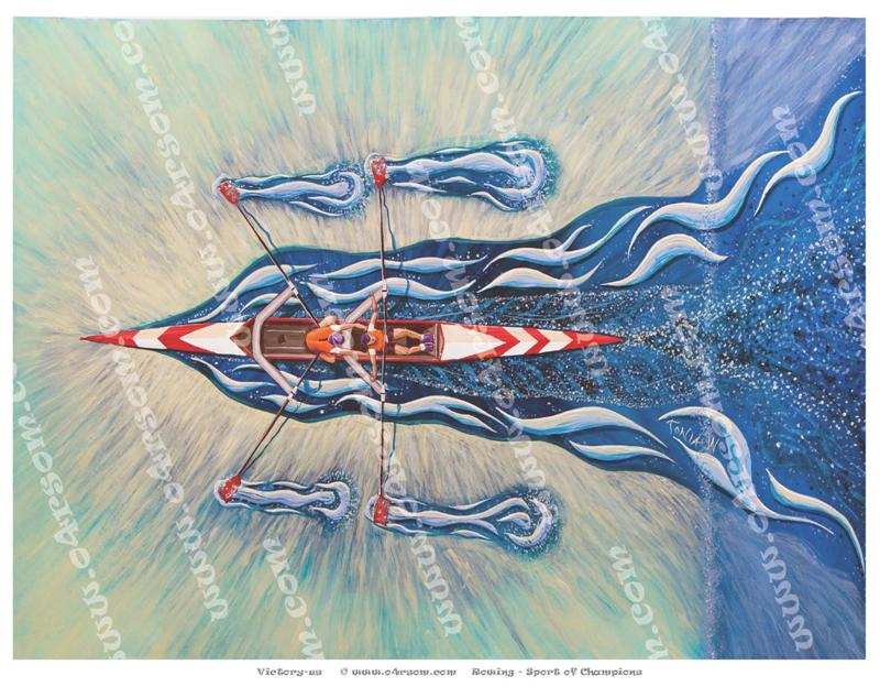 Victory-Us: travelling right-to-left, the crew try to catch their breath. o4rsom rowing art.